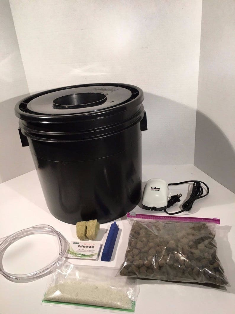 Complete Hydroponic System - 1 Site DWC Hydroponic Grow Kit - Bubble Bucket