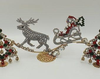 KEWABijoux Christmas set 8- 2 luxury trees and Santa Claus sleigh, christmast tree, winter, christmas crib, czech rhinestone