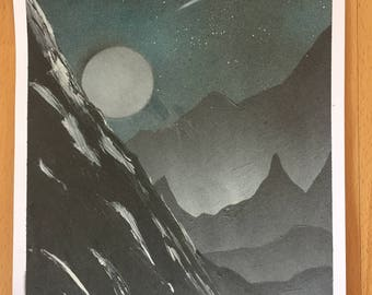 A3 poster painting, nature landscape, mountains, moon, night sky, stars, spray paint art, wall decoration