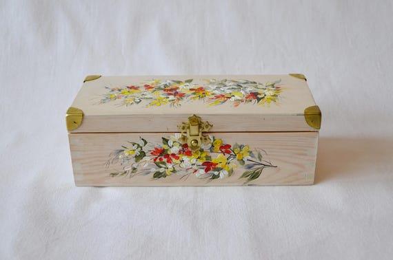 Tea chest,Handmade box,Jewellery Box,Poppies,Jewellery Gift Box,Tea lover gift,Hand painted box,Luxury chest,Painted box,Tea organizer