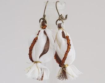 earrings, dangle earrings, earrings white, jasmine