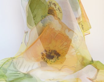 Silk chiffon scarf hand painted