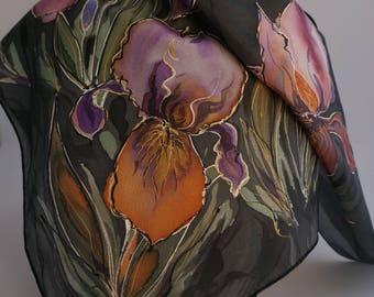 small silk scarf, silk painted scarf iris flower, black silk scarf silk scarf, iris