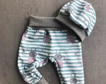 Baby Pumphose 50 56 62 68 74 80 86 92 Löwen Sterne Grau Schwarz handmade