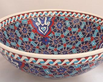 """Handmade Handpainted Turkish Ottoman Fine Art Ceramic Bowl 10.2"""" Diameter"""