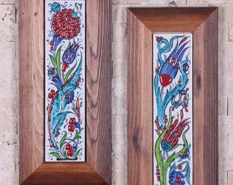2x Handmade Handpainted Turkish Ottoman Design Wall Art Home Decor Fine Ceramic With Wood Frame