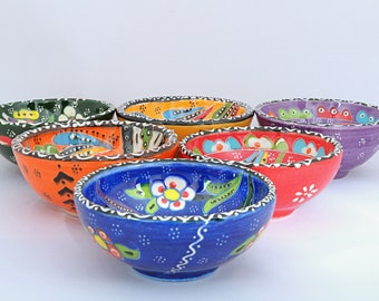 Handmade Turkish Ottoman Ceramic Colourful 6 Pieces Nut Bowls 8cm Diameters