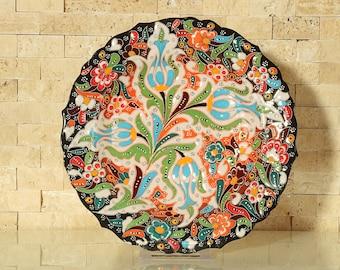 "Handmade Handpainted Turkish Ottoman Ceramic Plate 8,7"" Diameter Floral Design"