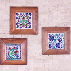 Handmade Handpainted Turkish Ottoman Design Wall Art Ceramic Tile With Natural Wood Frame