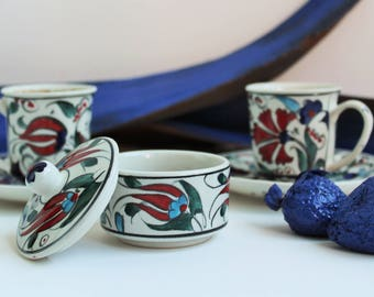 Handmade Handpainted Fine Ceramic Ottoman Turkish Coffee / Espresso Set 1 Candy Dish