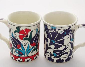 2x Handmade Hand painted Turkish Ottoman Ceramic Mugs Gift