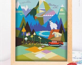 Cross Stitch World Stitching Cross Stitch Designs Cross Designs Glacier National Park #K333 Cross Stitch Kit Stitch Design