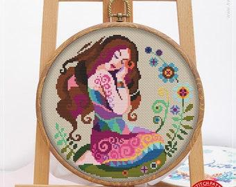 Virgo #K130 Cross Stitch Embroidery Kit Stitch Design Cross Stitch Kits Needlepoint Zodiac Signs Cross Stitch World Embroidery Stitches