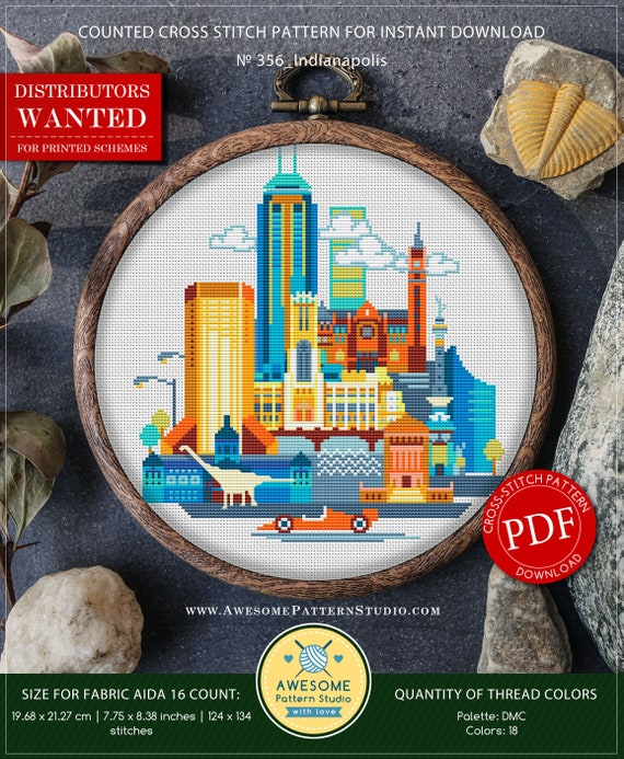 Indianapolis P356 Cross Stitch Embroidery Pattern Instant Etsy
