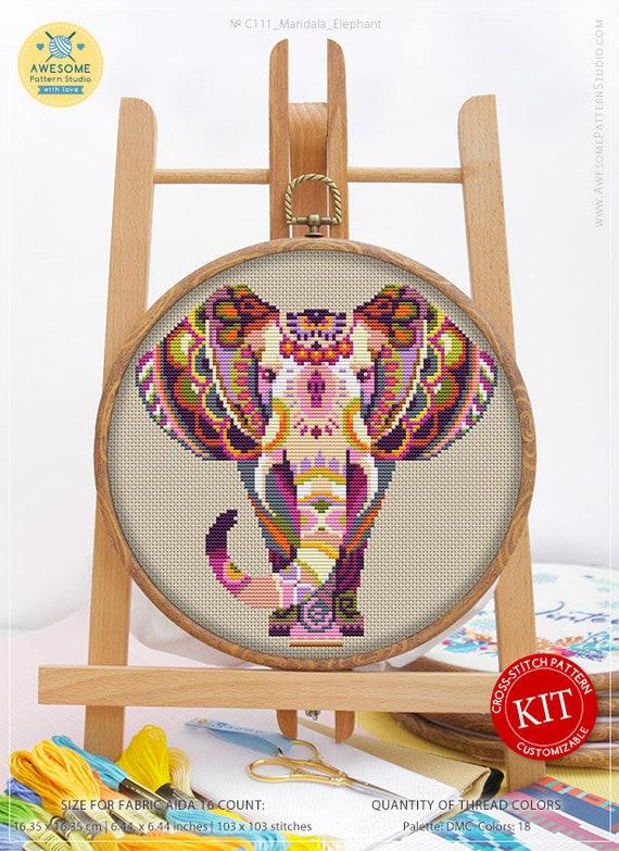 Stitch Patterns Cross Pattern Funny Animals Cross Stitch Patterns Mandala Elephant #K111 Embroidery Kit Cross Stitch Designs Embroidery Kits