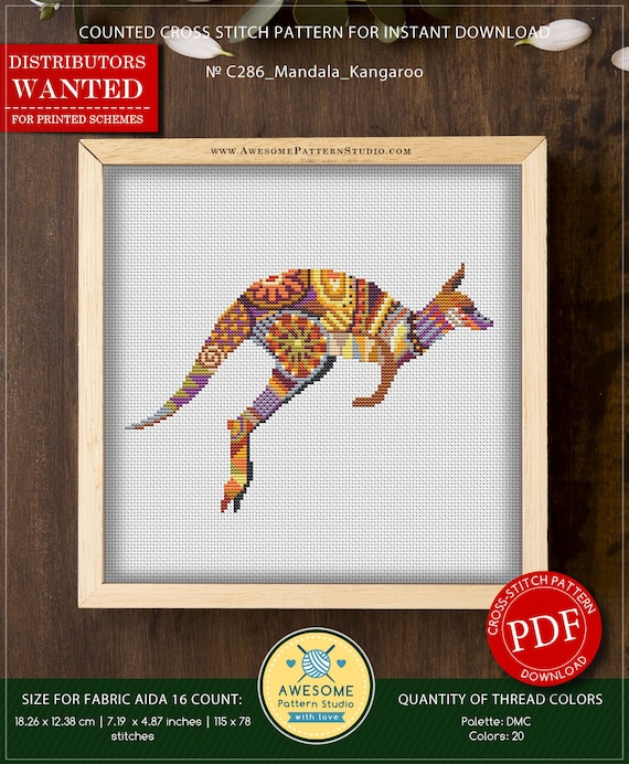 Cross Stitch Chart Pattern Red Kangaroo /& Joey