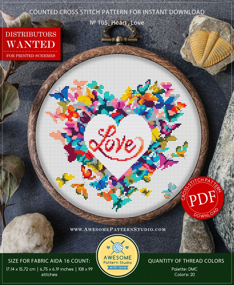 Heart Love P105 Cross Stitch Embroidery PDF Pattern Download image 0