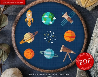 In Space Cross Stitch Pattern for Instant Download *P514   Space Icons Cross Stitch  Room Decor  Needlecraft Pattern  Easy Cross Stitch