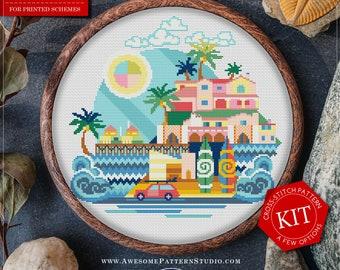 Malibu Cross Stitch Kit/Printed Cross-Stitch Pattern *K361 /City Modern Cross Stitch Pattern/Easy Cross Stitch