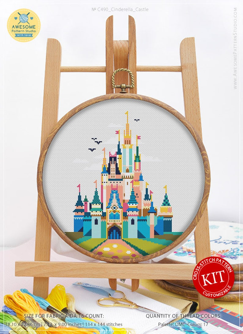 Cinderella Castle K490 Embroidery Kit Stitching Cross image 0