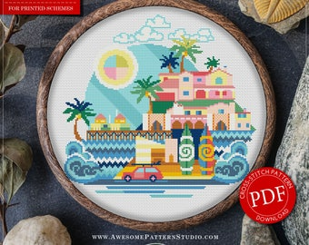 Malibu Cross Stitch Pattern for Instant Download *P361 | Easy Cross Stitch| Counted Cross Stitch|Embroidery Design| City Cross Stitch
