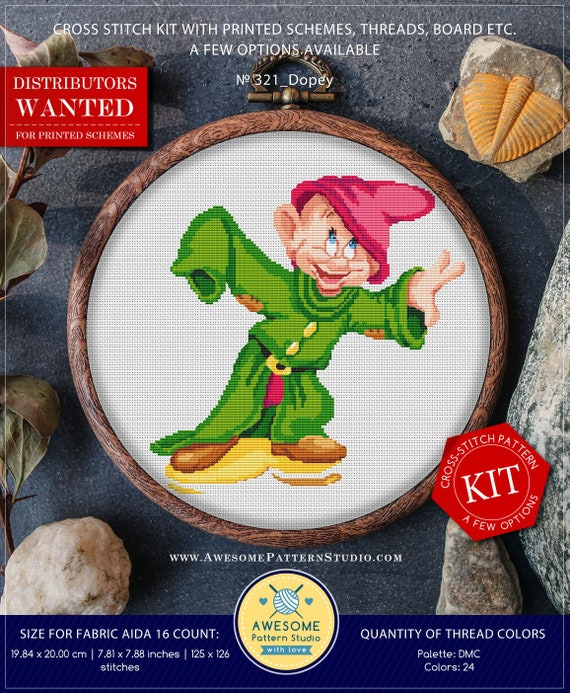 Dopey K321 Embroidery Kit Stitching Embroidery Kits Etsy