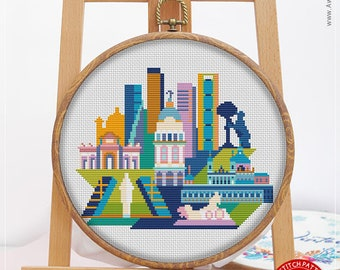 Madrid CS155, Counted Cross Stitch Pattern KIT and PDF | Embroidery | Needlepoint | Cross Stitch Embroidery | Embroidery Stitches