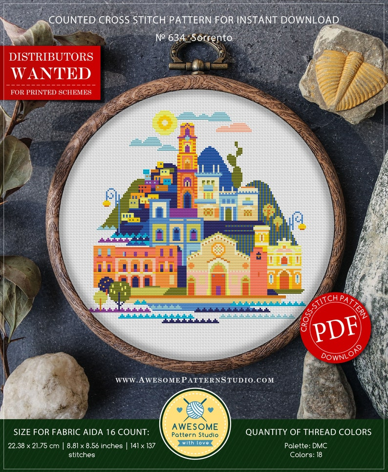 b632431125 Sorrento P634 Embroidery Cross Stitch Pattern Instant   Etsy