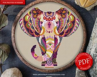 Mandala Elephant #P111 Embroidery Cross Stitch Pattern Download   Stitching   Cross Stitch Designs   Cross Pattern   Embroidery Stitches