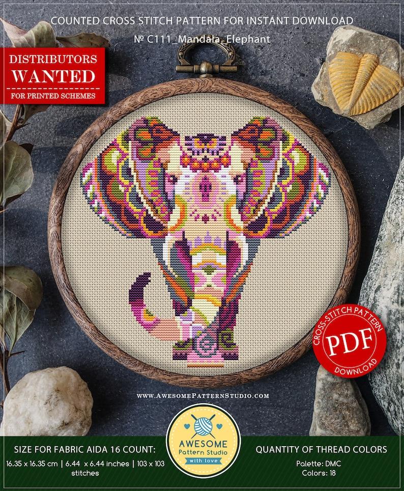 Mandala Elephant P111 Embroidery Cross Stitch Pattern image 0
