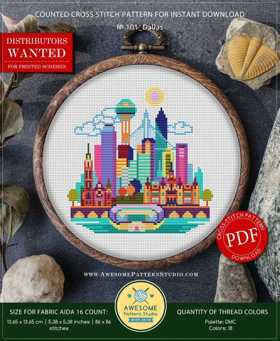 Dallas P101 Embroidery Cross Stitch Pdf Pattern Download Etsy
