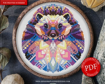 Mandala Hedgehog #P520 Embroidery Cross Stitch Pattern Instant Download   Cross Stitch Kits   Embroidery Kits   Embroidery Designs