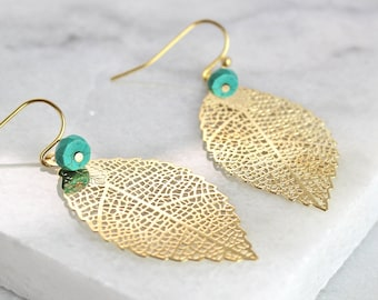 Personalised Leaf Earrings - Gift for her - gift for mum - mothers day