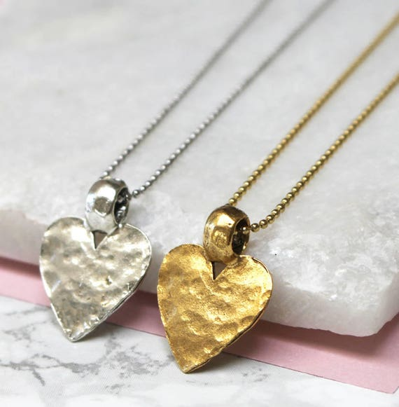 Hammered Heart in Sterling Silver Silver Heart Necklace Gift for Her