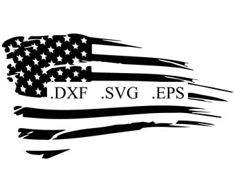 Distressed American Flag Vector Cut File DXF SVG EPS