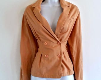 Vintage Pink Jacket Blush Blazer 70s Peach Double Breasted Size Medium