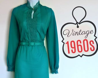 Vintage 60s Dress Emerald Green High Neck Belted Size Extra Small Ruffled Ruffles Secretary Long Sleeved Sheer Keyhole Neckline 1960s
