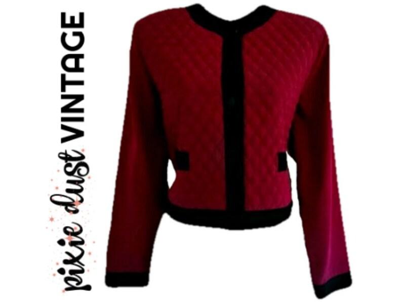 Vintage Jacket Collarless Quilted Purple 80s 1980s Black Trim Silky Size Medium
