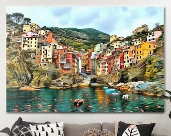 Riomaggiore Canvas Italy Wall Art Italy Poster Italy Print Riomaggiore Print Italy painting Italy picture landscape room decor & Italian wall art   Etsy