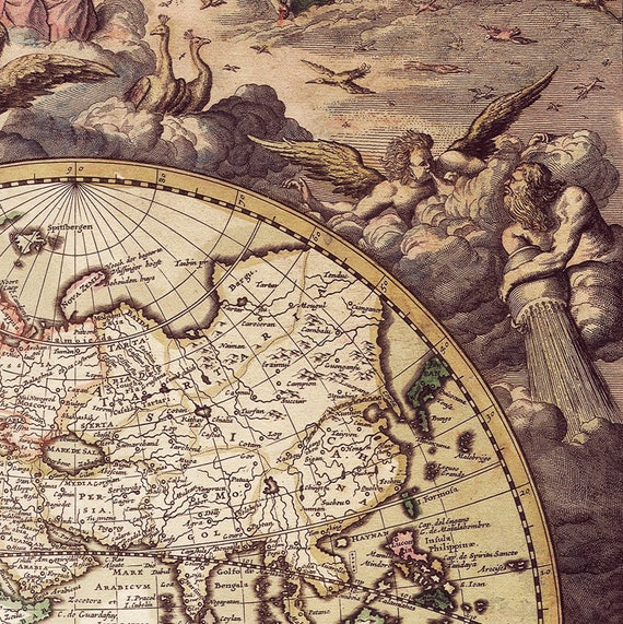 OLD LOOKING WORLD MAP VINTAGE GIFT WALL DECOR ART PRINT POSTER A2 SIZE