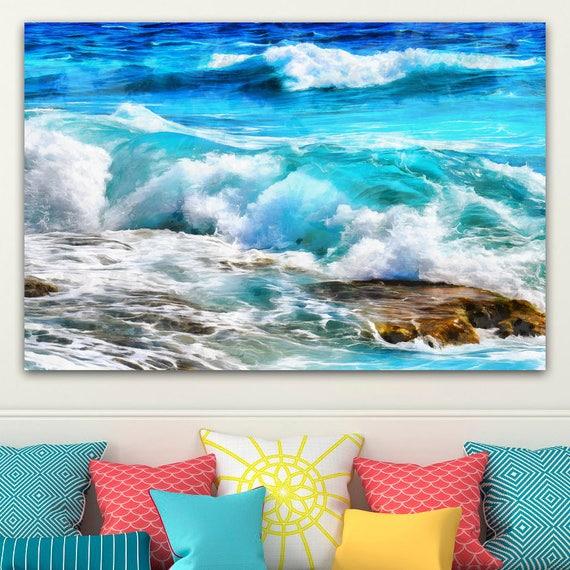 Blue toile de vagues, grand Art peinture, affiche, art mural, design ...