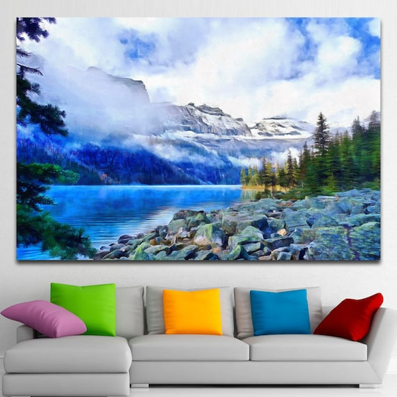Foggy Winter Lake Mountains Scenery Canvas Large Art Wall Painting Mountains Poster Nature Interior Decor Winter Landscape Gift