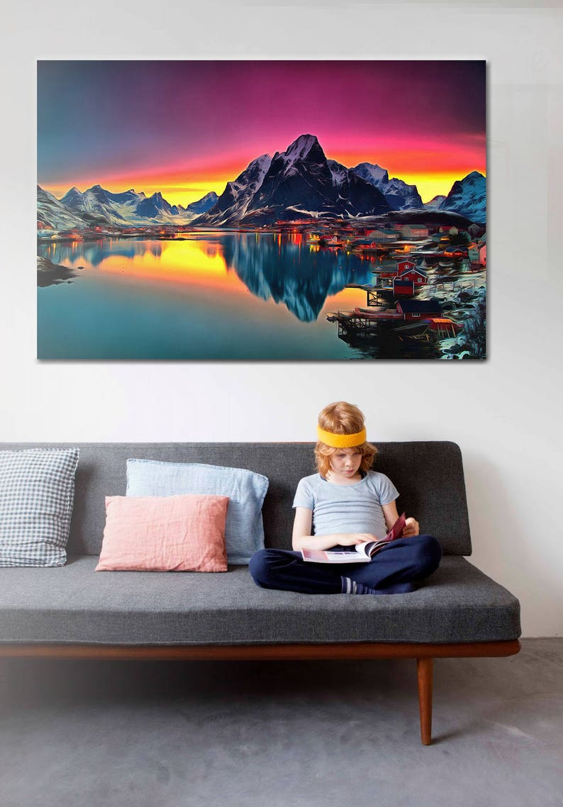 Mountains Canvas Norway Canvas Mountains Wall Art Mountains Poster Norway Print Colorful Painting Nature Painting Mountains Picture