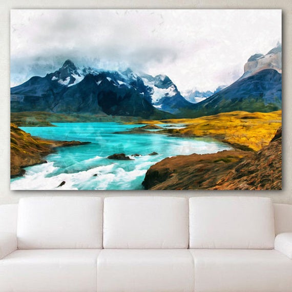 Torres Del Paine Canvas Patagonia Painting National Park Print Etsy