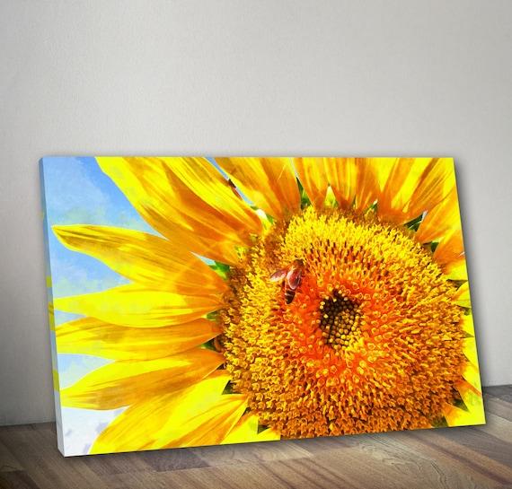 Close-up Sonnenblume Leinwand Sonnenblumen-Wand-Kunst Blumen | Etsy