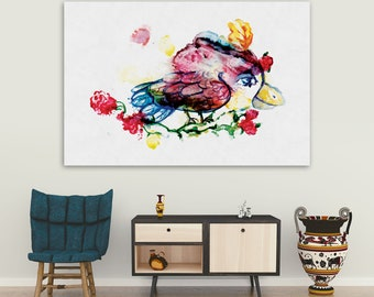 Monotype Watercolor colored bird Fantastic bird on canvas Abstract bird Limited edition print copy