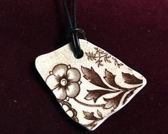 Vintage floral pottery shard necklace