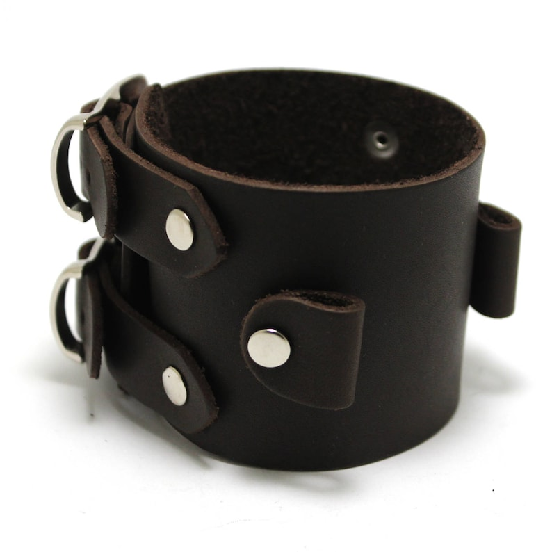 ee5fd06333d42 Johnny Depp replica bracelet for watch. Wide watchband buckled double  strap. Leather wide cuff for watches johnny depp style