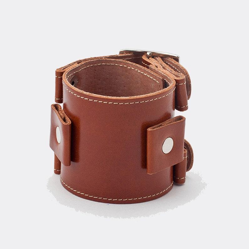 56ce20b331a0b Johnny Depp double buckle genuine leather bracelet for lug size 20 or 24 mm  size, stitched platform / Cognac, Black and Brown color