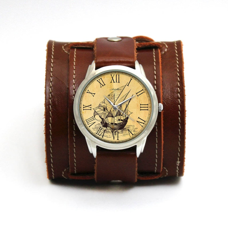 e51add5b46c44 Vintage style watches Old Ship with buckled cognac leather strap   Double  buckle johhny depp style watches with old ship picture by P&B